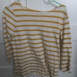Yellow and white striped tee